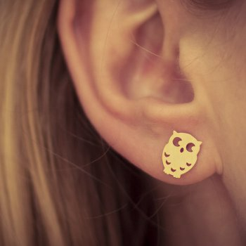 boucles d'oreilles, chouette, goodnight owl, dore, or, bijoux, odette et lulu, accessoires, clous