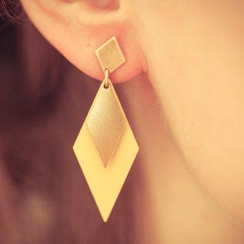 boucles d'oreilles, odette et lulu, vert, mint, jaune, menthe, plaqué or, bois, shlomit ofir, createurs, eshop