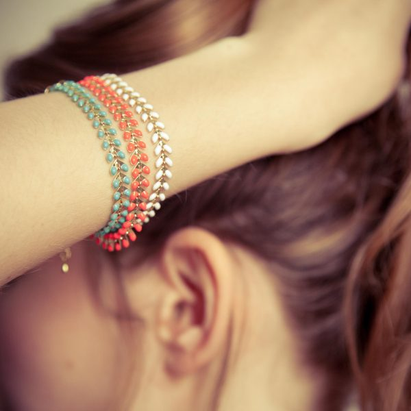 odette et lulu, 7bis, bracelet, ete, summer, turquoise, flashy, corail, blanc, mix and match, créateurs