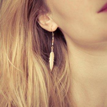 boucles d'oreilles, odette et lulu, feather, 7bis, corail, rose, createurs, eshop