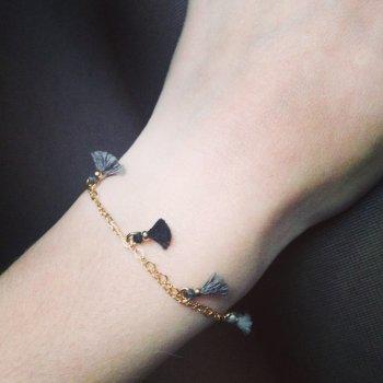 bracelet, pompons, eshop, créateurs, odette et lulu, doré, 7 bis