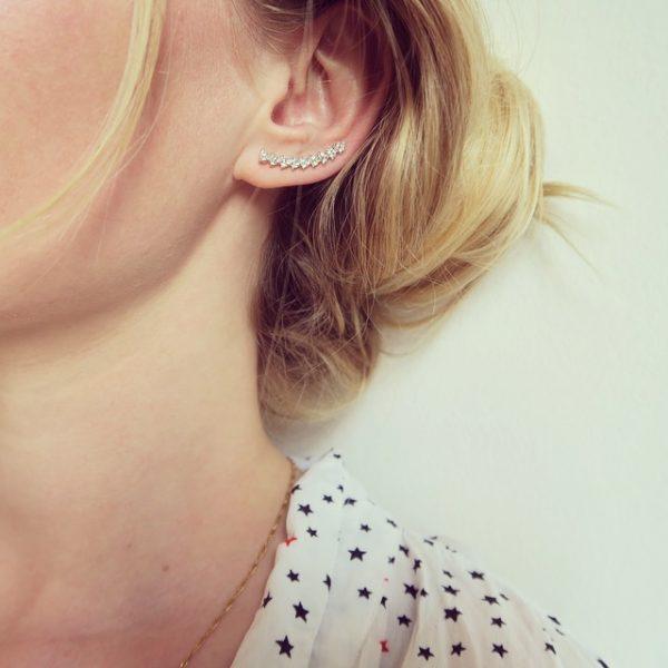 boucles d'oreilles, asymétrique, doré, strass, triangles, argenté, argent, montante, clou, sunny, 7bis, odette et lulu, eshop, créateurs, rock
