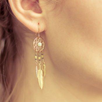 boucles d'oreilles, odette et lulu, dreamcatcher, perles, plumes, dorées, azur, mint, couleur, bijou fin, capteur de rêves, or, odette et lulu, créateurs