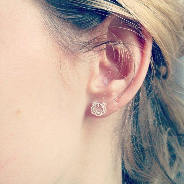 boucles d'oreilles, argenté, argent, odette et lulu, tigre, tiger, origami, eshop, créateurs, 7bis
