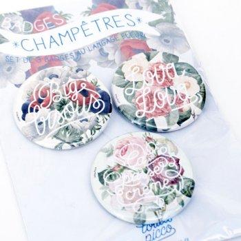 set de 3 badges, floral, fleuri, odette et lulu, lolita picco, graphiste, design, ça passe crème, lova lova, big bisous, eshop