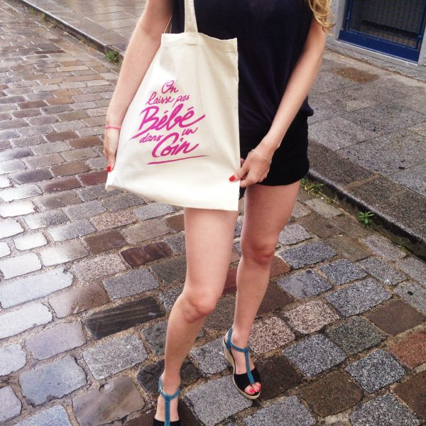 tote bag, rose, odette et lulu, sérigraphie, dirty dancing, pink, patrick swayze, on laisse pas bébé dans un coin, nobody puts baby in a corner, createurs, eshop