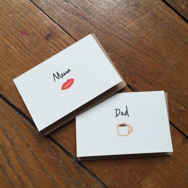 mini carte, mum, dad, odette et lulu, mathilde cabanas, createurs, eshop, enveloppe, petit mot, noel, carte pour les mamans, mummy, fête des mères, amour