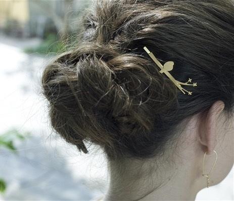odette et lulu, barrette, bijou de cheveux, plaqué or, shlomit ofir, bird, oiseau sur la branche, bird on the wire hair pin
