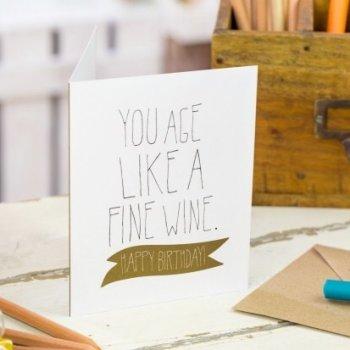 odette et lulu, créateur, you age like a fine wine, happy birthday, mr wonderful, enveloppe kraft, jolie carte de voeux