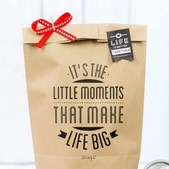 concept store, créateurs, odette et lulu, mr wonderful, lot de 5 sacs kraft, papier cadeau, love, gift, handmade, it's the little moments that make life big