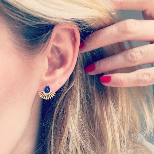 boucles d'oreilles, odette et lulu, coquillage, pierre semi précieuse, howlite, lapis lazuli, turquoise, effet marbré, 7bis, spring, cheveux, concept store, créateurs