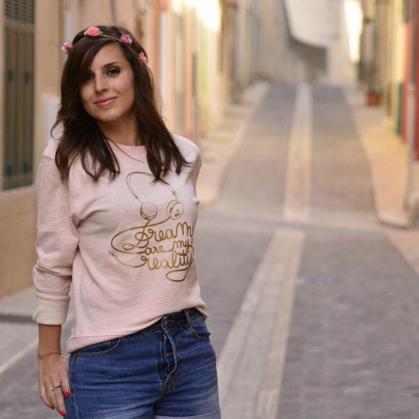 sweat, odette et lulu, la boum, dreams are my reality, rose layette, gold, doré, summer, printemps, été, festival, mythique, film