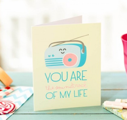 carte de voeux, you are the soundtrack of my life, odette et lulu, mr wonderful, papeterie, petit mot, mot doux, amitié, carte originale, carte colorée, eshop, concept store