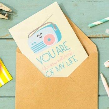 carte de voeux, you are the soundtrack of my life, odette et lulu, mr wonderful, papeterie, petit mot, mot doux, amitié, carte originale, carte colorée, eshop, concept store