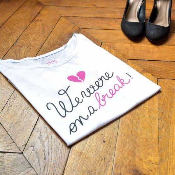 t-shirt, odette et lulu, friends, créateurs, friends, série friends, hommage, ross, rachel, we were on a break, we were not on a break, coeur brisé, concept store, eshop, marion seclin