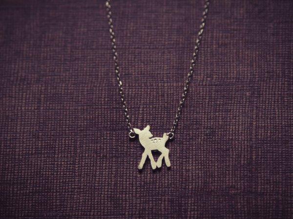 collier, ras de cou, bambi, frozen bambi, faon, odette et lulu, argente, argent, mode, createur, bijoux