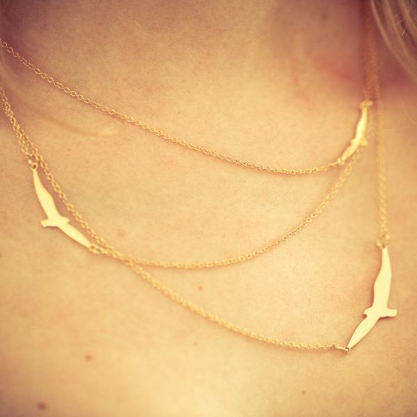 collier, plaqué or, plaqué argent, odette et lulu, shlomit ofir, oiseaux, e shop