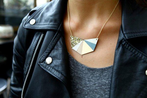 collier, hexa or, odette et lulu, chouette fille, e shop, cuir, glitter