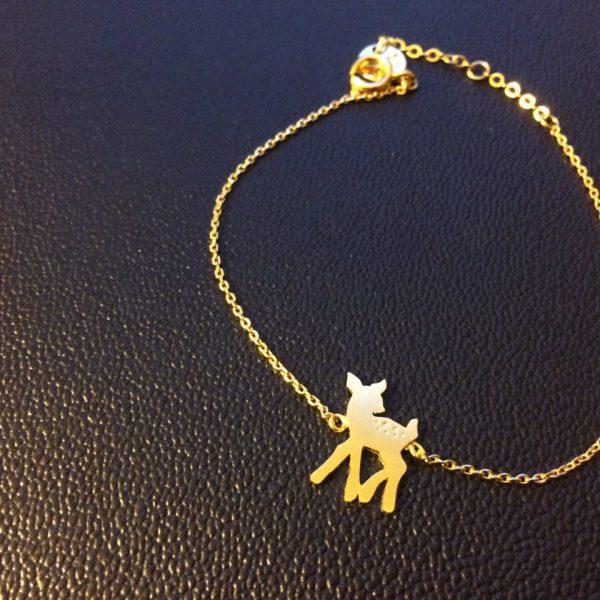 bracelet, bambi, dore, argente, odette et lulu, petit prix, handmade, fait main