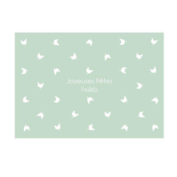 carte postale, joyeuses fêtes poulette, félicie aussi, vert, poule, amies