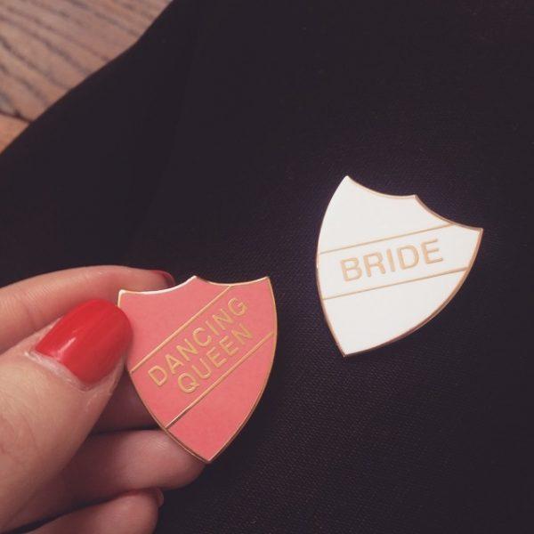 badge, dancing queen, odette et lulu, vintage, dore, rose, bride, branché, eshop, ridley's, bride