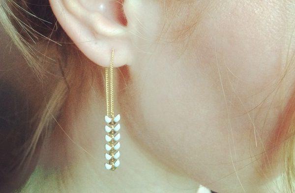 boucles d'oreilles, corail, doré, or, azur, turquoise, blanc, néon, épi de blé, couleur, bijoux, créateurs, eshop