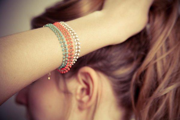 odette et lulu, 7bis, bracelet, ete, summer, turquoise, flashy, corail, blanc, mix and match, créateurs