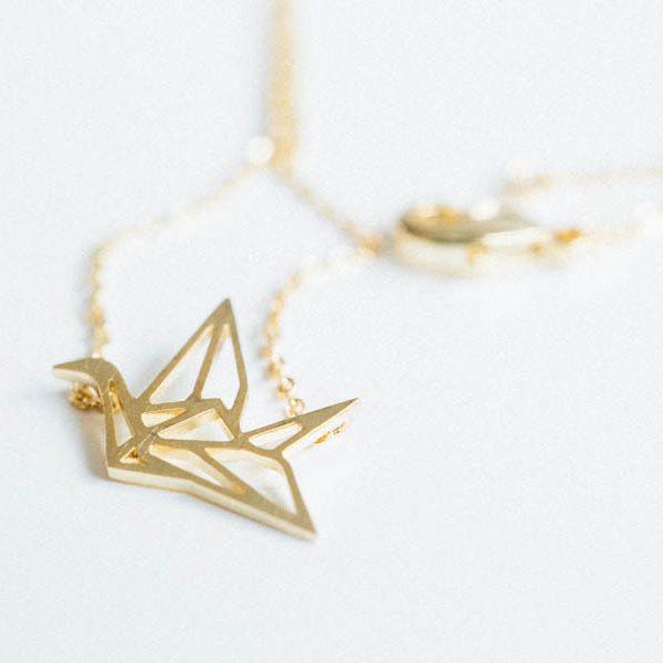 collier, origami, odette et lulu, créateur, doré