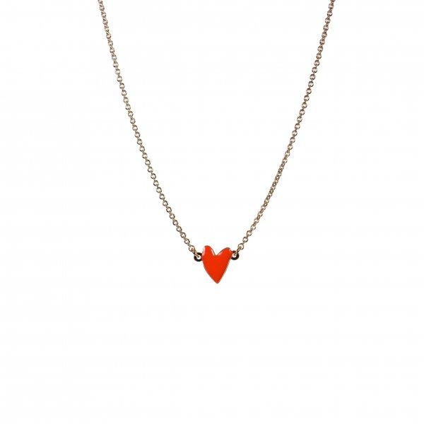 collier, odette et lulu, coup de coeur, coeur, rouge, vermillon, coquelicot, rouge vif, red, doré, or, titlee, createurs, eshop, designers