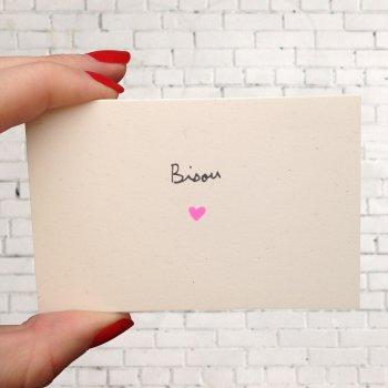 mini carte, bisou, illustratrice, coeur, rose, rose fluo, mathilde cabanas, odette et lulu, eshop, createurs