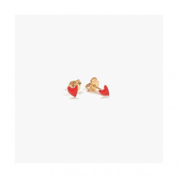 boucles d'oreilles, odette et lulu, noires, black, dorées, or, clous, coeur noir, black heart, titlee