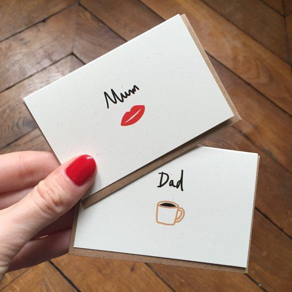 mini carte, mum, dad, odette et lulu, mathilde cabanas, createurs, eshop, enveloppe, petit mot, noel, carte pour les mamans, mummy, fête des mères, amour, fêtes des pères, mot pour mon père, daddy