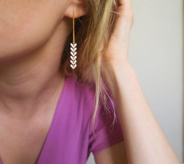 boucles d'oreilles, corail, doré, or, néon, azur, turquoise, blanc, épi de blé, couleur, bijoux, créateurs, eshop