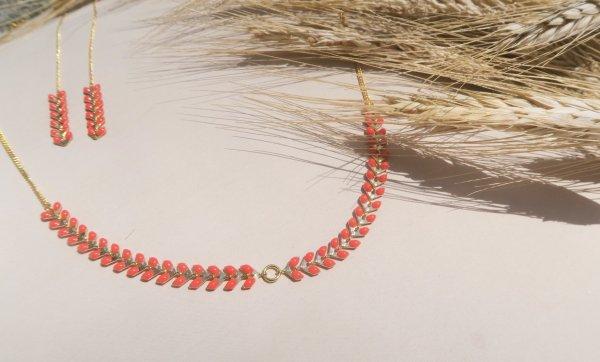 boucles d'oreilles, corail, doré, or, néon, azur, turquoise, blanc, épi de blé, couleur, bijoux, créateurs, eshop, collier, parure
