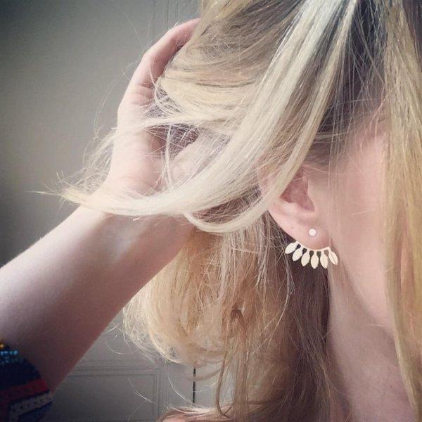 boucles d'oreilles, odette et lulu, shlomit ofir, eventail, fermoir poussoir, summer, spring, été, printemps, concept store, odette et lulu, plaqué or, plaqué argent, créateurs
