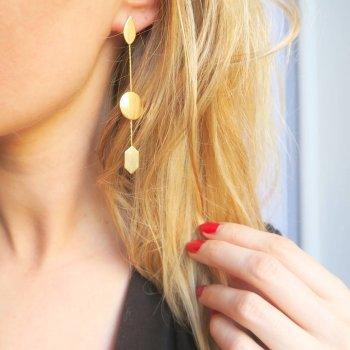 boucles d'oreilles, moon, odette et lulu, or, boucles d'oreilles pendantes, habillées, perfect gift, idée cadeau