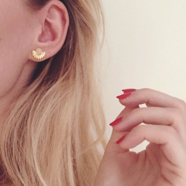 boucles d'oreilles, soleil, 7bis, odette et lulu, quartz rose, pierre semi précieuse, créateurs, laiton doré, 2016, summer, été