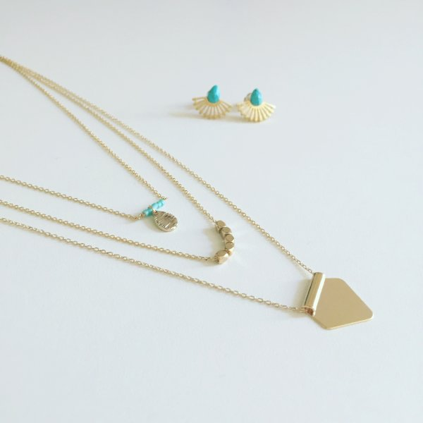 collier, odette et lulu, salty, turquoise, doré, 7bis, créateurs, concept store, online, design, bijou de plage