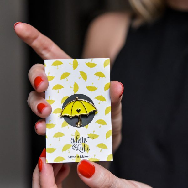 pin's, odette et lulu, how i met your mother, parapluie jaune, yellow umbrella, 90's, accessoire, concept store, eshop, odette et lulu, marion seclin