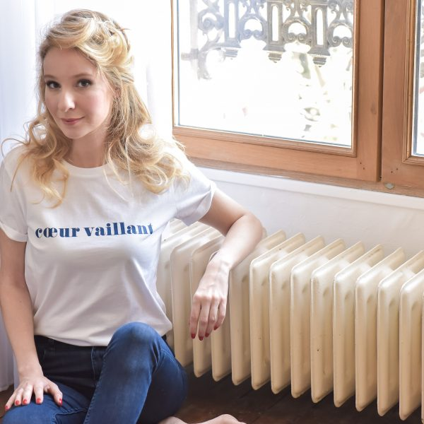 t-shirt, odette et lulu, nouvelle collection, coeur vaillant, bleu marine, t-shirt mixte, créateurs, eshop, concept store, coton bio, 100% coton, message, cadeau idéal, perfect gift