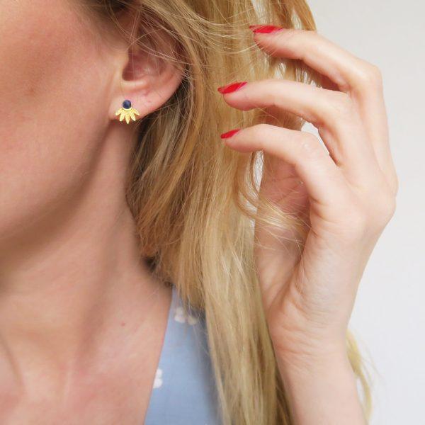 boucles d'oreilles, lapis, bleu roi, odette et lulu, 7bis, concept store, créateurs, perfect gift, idée cadeau, lapis lazuli, pierre semi precieuse