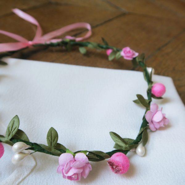 couronne, fleurs, rose, vert, handmade, fait main, odette et lulu, eshop, concept store, vesna, fait main, ukraine, spécialité ukrainienne, ajustable