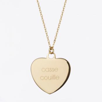 collier, odette et lulu, or, massif, créateurs, félicie aussi, médaillon, coeur, message personnel, garanti 1 an, fait avec amour, made in france, french jewelry