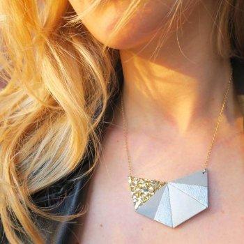collier, odette et lulu, cuir, créateurs, plaquée or, her, chouette fille, collier hexa, idée cadeau, concept store