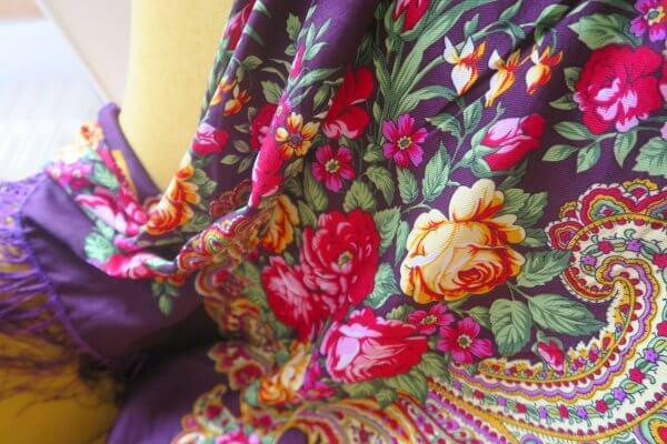 foulard balte, 100% coton, châle ukrainien, vert, fleurs, flowers, scarves, coste billy, fashion, 2018, 2019, flash, folk, bohème, nouveau, new, ukraine, pologne, soie, satin de soie, violet