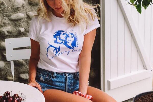 t-shirt, le grand bleu, Odette et lulu, Rosanna Arquette, Jean-Marc Barr, dessin, go and see my love, été 88, t-shirt vintage, pop, créateurs, concept store