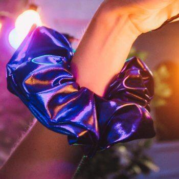 chouchou, handmade by momzy, Odette et Lulu, bleu, oversize, chouchou le grand bleu, paillettes, brillant, summer, été