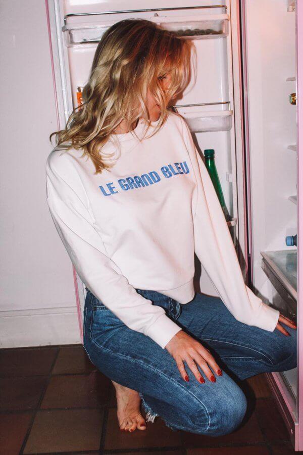 collection exclusive, le grand bleu, sweat, broderie, vintage, coton organique, coton bio, made in Portugal, sweat tout doux, sweat doudou, Odette et lulu