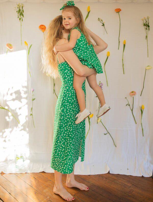 robe suzette, robe sucrette, robe enfant, robe femme, printemps, été, sucrette, enfant, maman, petite fille, matchy matchy, liberty, vert, émeraude, concept store, createurs